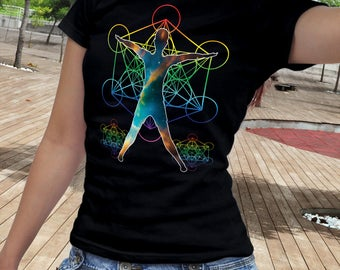 Sacred Geometry Yoga Shirt, Yoga Gift, Yoga Clothing,  Sacred Geometry Yoga T-Shirt, Yoga Shirt, Spiritual Shirt, Metatron's Cube, Star Pose