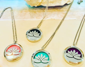 Aromatherapy Necklace -Lotus Flower Necklace - Oil Diffuser Necklace