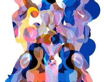 Women in Blue A3 Art Print