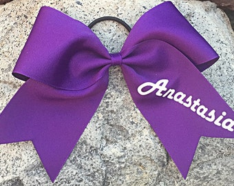 """3"""" Texas Sized 7""""x7"""" Cheer Bow with Name in your choice of colors"""