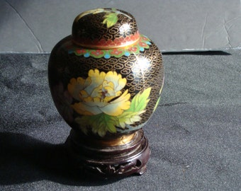 Chinese Cloisonne mini ginger jar /  blue and black cloisonne vase / decorative floral ginger jar / includes wood stand / Chinese decor