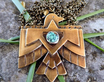 Southwestern Thunderbird necklace | brass bird necklace | Thunderbird necklace | Boho necklace | Turquoise necklace
