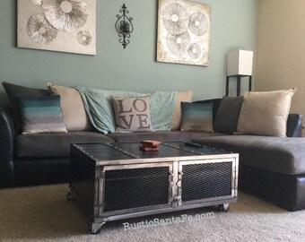 Modern industrial coffee table, handmade, mid century design, urban loft, vintage industrial sofa table, the Rockstar table/hutch