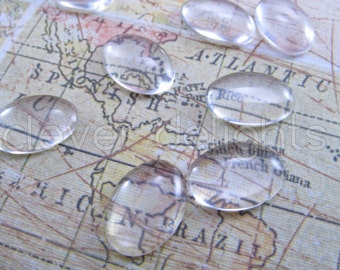 """50 Glass Oval Cabochons - 13x18mm - Clear Magnifying Cabs - For Cameo Pendants, Photo Jewelry, Rings Necklaces - 1/2"""" x 11/16"""" inch"""