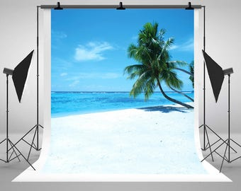 Sea Beach Photography Backdrops Blue Sky White Clouds Coconut Tree Photo Backgrounds for Wedding Studio Props