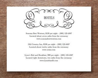 Wedding Information Card Printable - Flourish - Blank Wedding Card Download - Wedding Info Card - Black & White Wedding Card - Directions