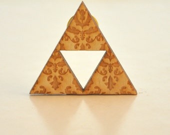Triforce birchwood brooch fanart triangle geometric with floral engraving