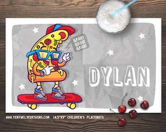 SKATEBOARDING PIZZA Personalized Placemat for Kids - Children's Placemat, Personalized Kid's Gift, Fast Shipping - pizza, skateboard, stars