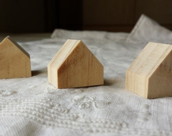 3 small natural wooden houses . pine wood houses . little houses . little wooden houses. miniature houses . little cottages doll house decor
