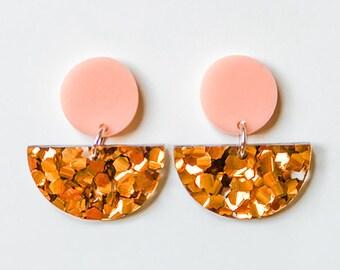 EARRINGS | Bronze Half Moon : Mid And Fancy Hello Miss May Drop Earrings