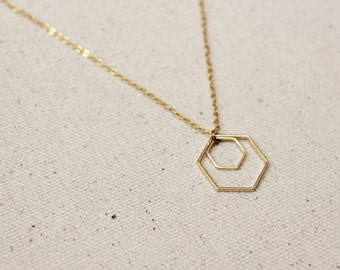 Hexagon Necklace / Geometric Necklace / Gold Layered Necklace / Birthday, Bridesmaid Gift Idea
