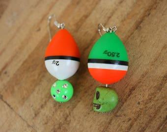 Original earrings peach vibrant green and orange floats