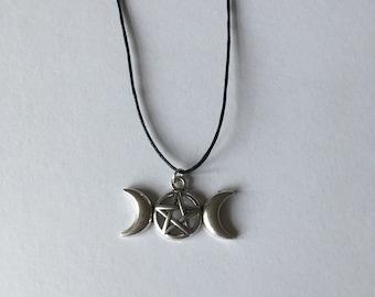 Handmade Triple Moon Pentagram Tibetan Silver Necklace Choker
