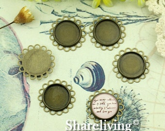 10PCS Antique Bronze Double Lace Edge With 16mm Cameo Base Setting Pendant