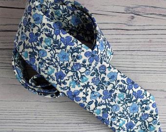 Blue floral tie - Liberty print tie - Meadow blue tie - wedding tie - Liberty tie