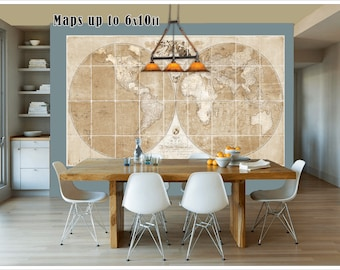 Wall tapestry map etsy large vintage world map1791 world map in antique colors world map grand canvas gumiabroncs Image collections
