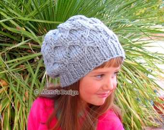 Knitting Pattern 095 - Hat Knitting Pattern - Knitting Hat Pattern for Hat with Pink Bow - Toddler Child Teen Adult Girls Women Slouchy Hat