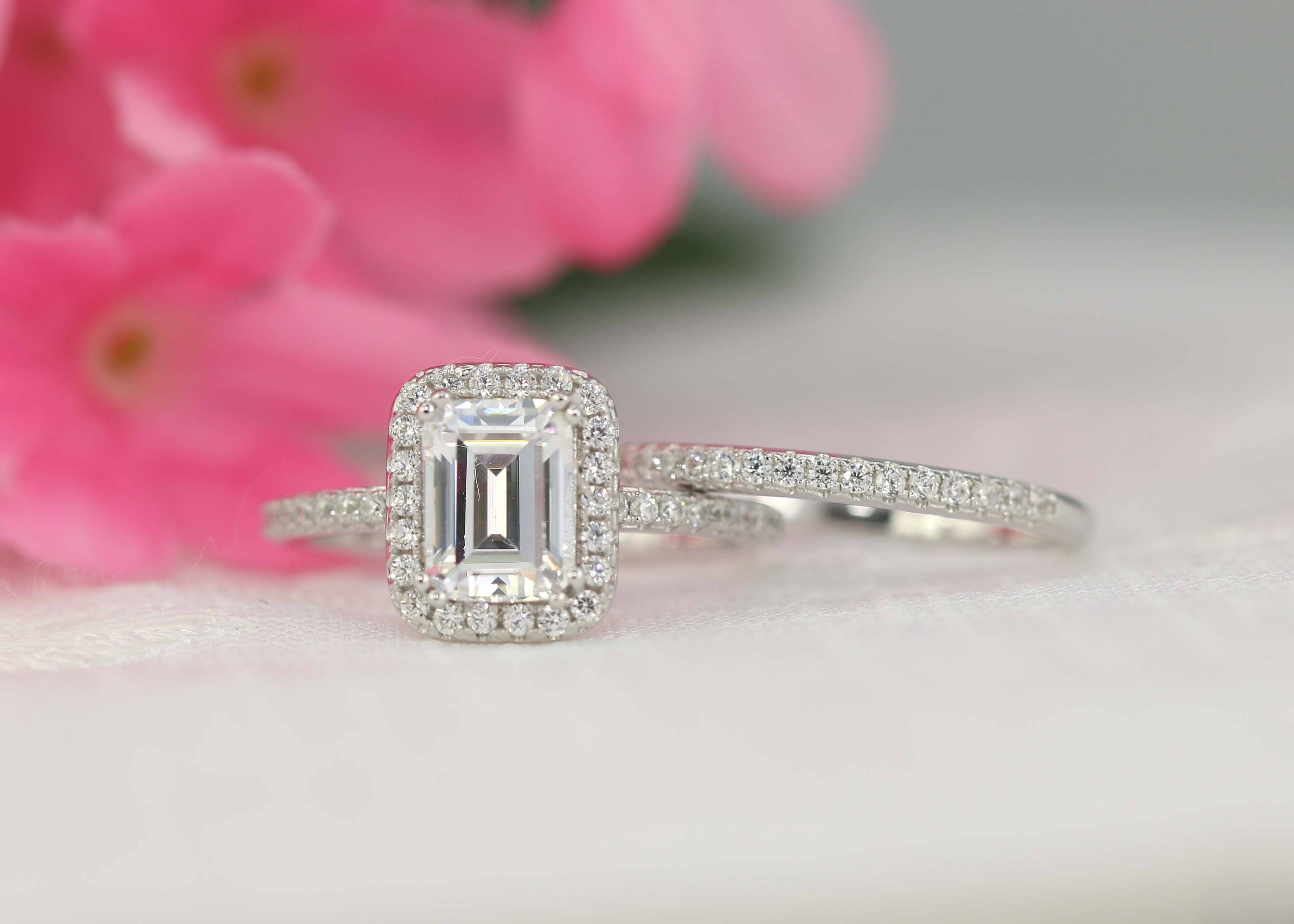 Wedding Ring Set Engagement Ring Set Emerald Bridal Set