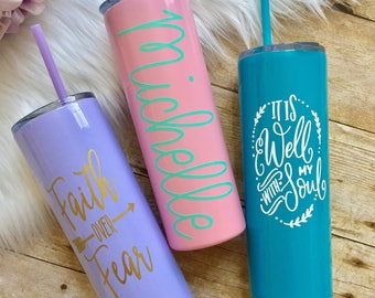 Lavender, Light Pink, Light Yellow or Aqua Skinny Stainless Steel Tumblers with MATCHING STRAW, Personalized, Powder Coated, Insulated