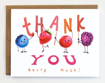 Thank You Card (Berry Much) - Blank Fruit Card