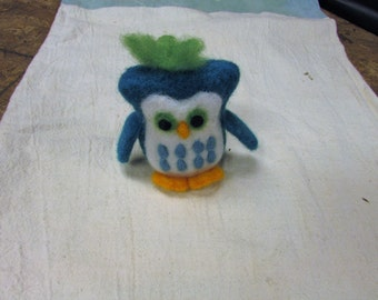 Hand Made Needle Felted Blue Owl