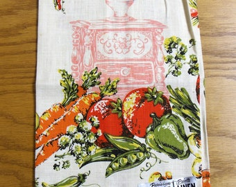 Printed Linen Towel vintage 1970s vegetables Parisian Prints pure linen kitchen tea towel