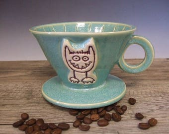 Turquoise Coffee Dripper/Single Coffee Maker/Single Coffee Brewer with Caffeine Monster  by misunrie