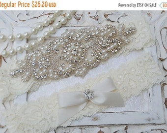 ON SALE Bridal Garter, Wedding Garter Set, Stretch Lace Garter, Crystal Silver Garter-Catherine Style 10822