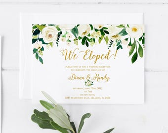 White Floral Greenery Elopement invitation Printable template Elopement announcement Post wedding reception invitation Elope card