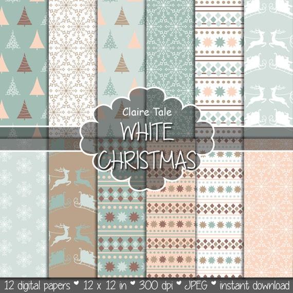 "Christmas digital paper: ""WHITE CHRISTMAS"" christmas backgrounds with deers, santa, snowflakes, christmas trees"