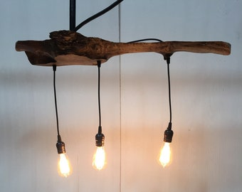 Live Edge Wood Pendant Fixture in Maple with 3 Sockets
