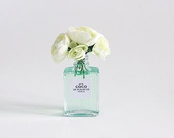 "5"" white ranunculus in seafoam perfume inspired vase"