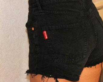 Vintage Black Denim cut off high button down fly Bigstar jean shorts