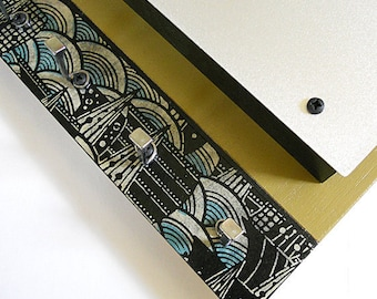 MODERN MAIL HOLDER: Art Piece with Japanese Washi Paper Asian Influence and Decorative Practical Key Hooks.