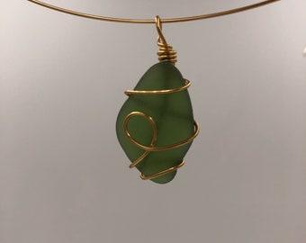 Olive green beachglass pendant