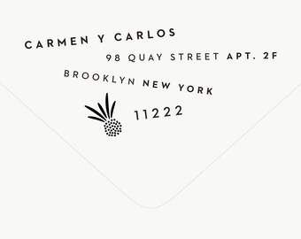 Return Address Stamp Modern - Pineapple Stamp - Custom Stamp - Pineapple Stationery - Wedding Stamp - Tropical - Rubber Stamp - Carmen No. 2
