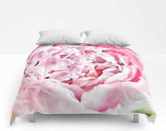Pink Peony Comforter, Pink Bedding, Flower bedding, Unique design, Flower Comforter, Full, Queen, King, Dorm, Floral, Wedding, Feminine