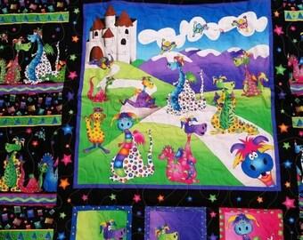 SALE Girl Fantasy Crib Quilt, Dragon Crib Quilt, Girl Crib Bedding, Girl Forelore Nursery Bedding, Purple, Pink, Fantasy, Slaying Dragons