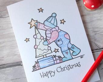 Christmas tree card, Christmas decorations card, Happy Christmas card, cute Xmas child card, happy holidays card, Christmas greetings card