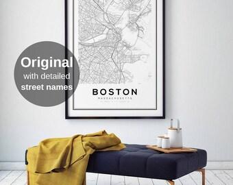Boston Map Print, City Map Decor, City Map Wall Art, Massachusetts Map, Boston Map Poster, US Map Print, Boston City, Printable Wall Art