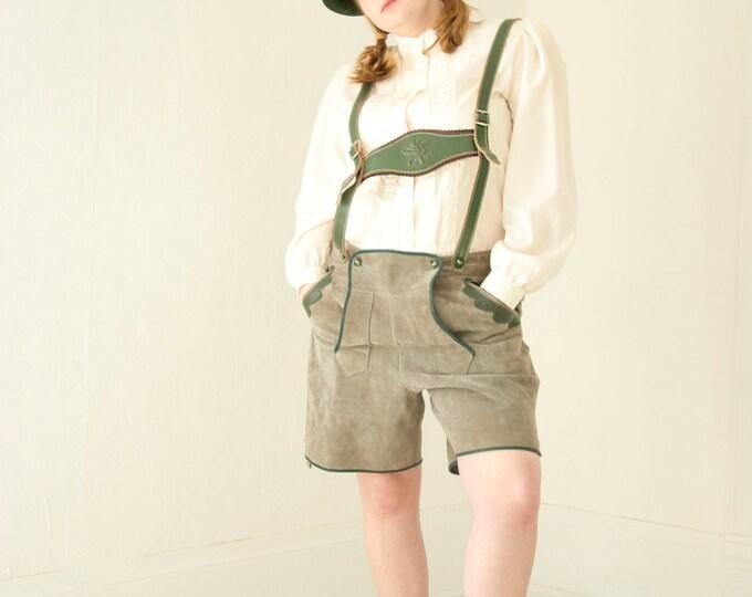 Vintage Lederhosen, German leather shorts, gray green suspenders, Alpine Bavarian traditional unisex mens L XL plus size 1970s retro