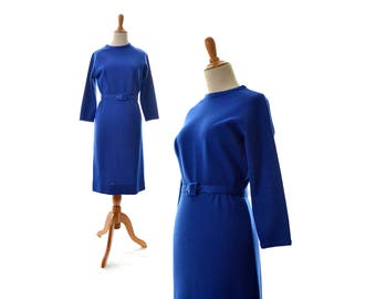Sweater Dress, 1960s Dress, Small Sweater Dress, Blue Sweater Dress, Blue Dress, Winter Dress, Knit Dress, Vintage Clothing, Vintage Dress,