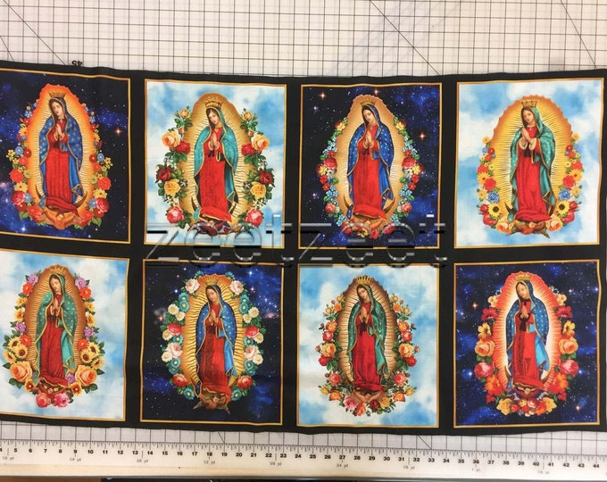 VIRGIN of GUADALUPE PANEL Blue Virgin Mary Cotton Fabric by the Panel Robert Kaufman Inner Faith Religious Holy Mother