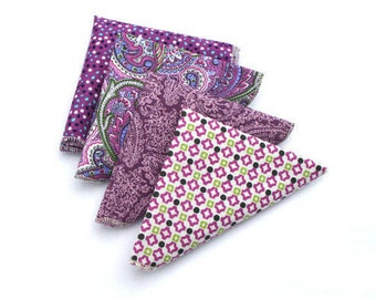Purple  Pocket Square, Plum Boys Pocket Square, Plum Pocket Square, Paisley Pocket Square, Mens Pocket Square, Groomsmen Pocket Square