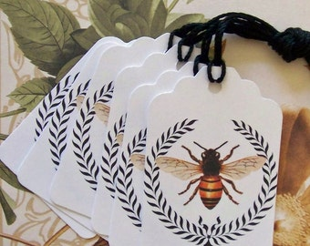 Tags Bee Wreath Gift Tag Party Favor Wish Tree Handmade Vintage Style Treat Bag Tag T040