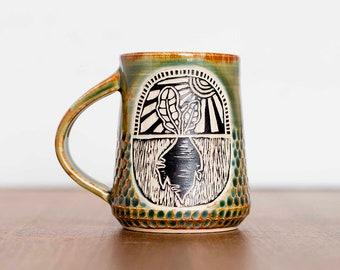 Handmade Root Turnip Beet Gardening Carved Ceramic Coffee Mug