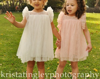 The Melanie Flower Girl Lace Dress, made for girls, toddlers, infants, ages 2T,3T,4T,5T,6,7/8