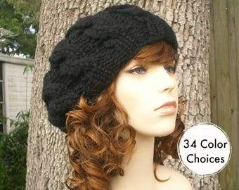 Knit Hat Womens Hat Black Slouchy Beanie - Black Cable Beret Hat in Black Knit Hat - Black Hat Black Beret Black Beanie - 34 Color Choices