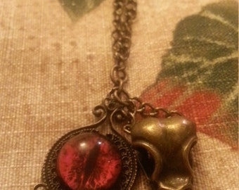 Gothic Bird Skull and Eyeball Charm Necklace