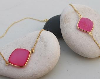 Square Pink Druzy Jewelry Set- Neon Pink Druzy Necklace Bracelet- Simple Pink Druzy Necklace Bracelet - Sparkly Classic Druzy Jewelry